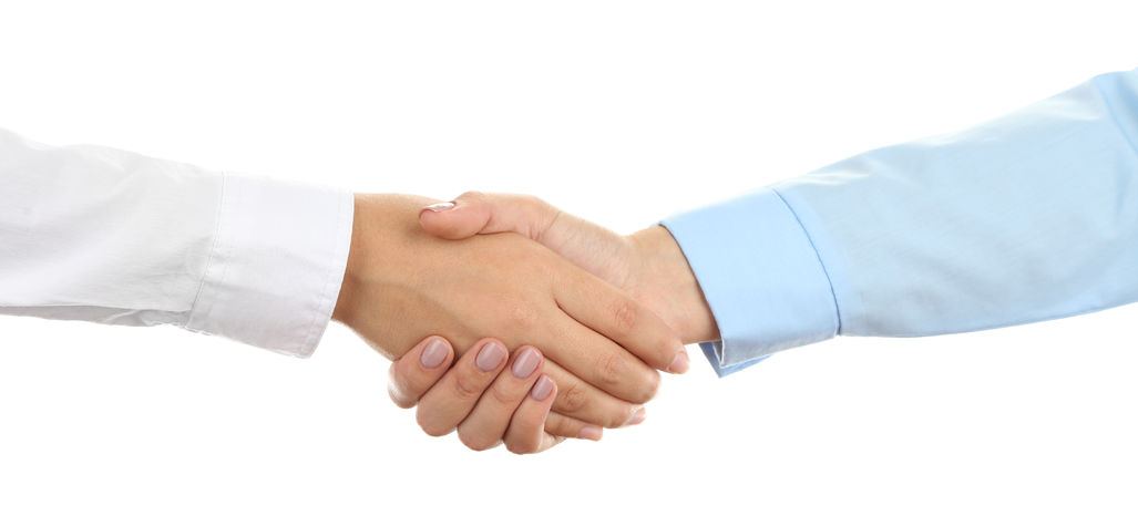 38206258 - business handshake  isolated on white